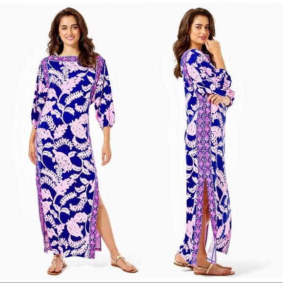 Lilly Pulitzer Silva Maxi Dress Turtle Print Blue